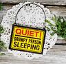 Tiny Mini Sign Quiet Grumpy Person Sleeping Gag Cubicle Office Decor Doorknob
