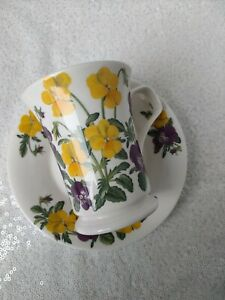 Dunoon  cup/mug & saucer Flower of the Month May Viola flower Kathy Pickles