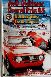 Blechschild, 20 x 30 cm, Grand Prix 85, Nürburgring, Alfa Romeo, Auto, Neu, OVP