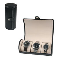 New 3 Grids Leather Watch Display Case Jewelry Collection Storage Holder Box UK