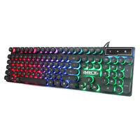 USB Gaming Keyboard RGB LED Backlit Wired Silent Keyboard Noiseless