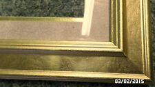 1MJD Vtg Shiny Gold Foiled Wood 10x22 Picture Frame w/Matching Mat & Glass EXC