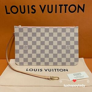 🔥NEW AUTHENTIC LOUIS VUITTON Neverfull GM/MM Damier Azur Pink Pochette GIFT