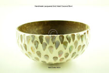 Handmade Decorative Coconut Bowl, Lacquered & Inlaid With Sea-Shell, Cream, H013