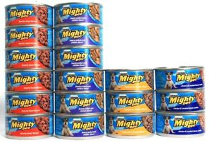 18 Mighty Dog Variety Pack Hearty Beef Pulled Rotisserie Bacon Chicken  5.5 oz