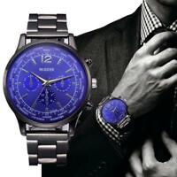 Fashion Men's Watches Crystal Stainless Steel Band Analog Quartz Wrist Watch