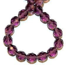 """CZ4141 Amethyst Purple 8mm Fire-Polished Faceted Round Czech Glass Beads 16"""""""