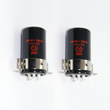 2x JJ Elko 100+100uF 500V incl. clamp / Schelle ( Can capacitor 100 uF µF )