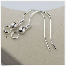 100x New 925 Sterling Silver Earrings Hook Coil Ear Wires DIY Jewelry Findings H