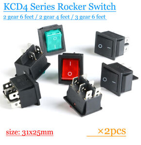 2pcs KCD4 Rocker Switch Power Button Switch Accessories 15/16A 250VAC 3/4/6 feet