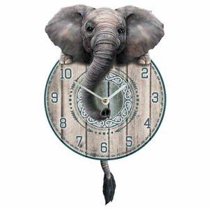 Trunkin' Tickin' Elephant Pendulum Wall Clock By Nemesis Now