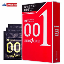 OKAMOTO 001 Zero One Standard Extremely Thin Condoms 3 pcs from Japan -US Seller