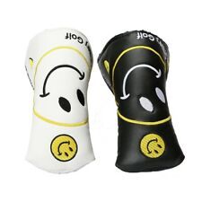 Golf Putter Head Blade Toe Cover Yellow Happy Smiley Graphic Logo White Black