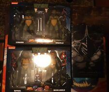 NECA TMNT LEONARDO, DONATELLO, MICHAELANGELO, RAPHAEL, AND SUPER SHREDDER NEW...