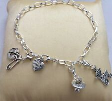 Bracelet - Silver Plated Charm Design  - Tibetan Silver Charms -Baby Shower Gift