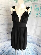 Milly Solid Black Gold Metal Ring V-Neck Sleeveless Knit Dress - Size Large