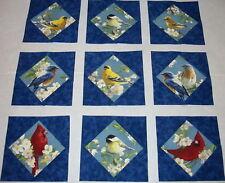 9 Lovely Bird Quilt Top Blocks - Cardinals, Chickadee Blue Birds