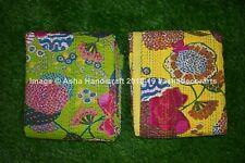 Indian Embroidery Kantha Quilt Bedspread Solid Throw Cotton Green And Yellow