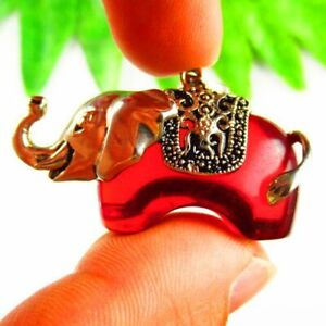 Carved Tibetan silver Wrapped Red Titanium crystal Elephant Pendant Bead F47145