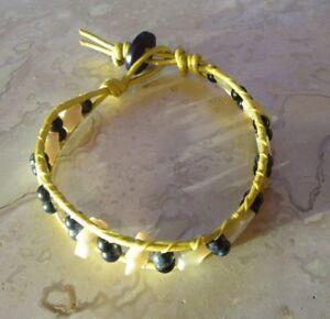 Lapis Lazuli Bracelet Natural Lapis Lazuli Tiny Stars on Leather w Vtg Button