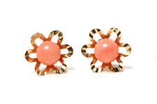 9ct Gold Coral Flower Stud earrings Gift Boxed Made in UK Christmas Xmas Gift