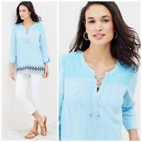 New J. Jill Aegean Seashell Peasant Top size L Blue Boho Tunic Shirt lace up AIK