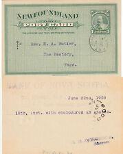 Newfoundland ST JOHNS to Fogo Edward VII 1c Post Card Bank Handstamp 1909