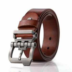 Men Top Genuine Cowhide Leather Casual Jean Belt Gunmetal Buckle