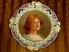 "Antique Old Parice Painted Portrate On Porcelain Huge 13""D Cabinet Plate Plaque"