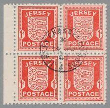 Jersey Mi.Nr. 2 y I, zentrisch gestempelter Randviererblock mit Plattenfehler