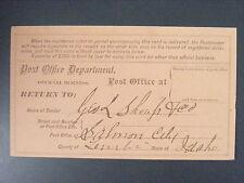 George L Shoup 1st Idaho Governer Signed Autograph Salmon City 1881 Reg Receipt