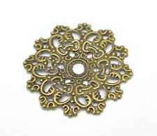 30 Bronze Tone Filigree Flower Wraps Connector Embellishments Findings 47mm