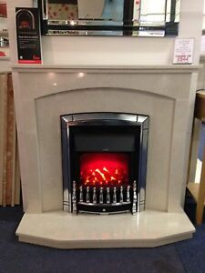 ENGLISH MADE RYE MARBLE FIRE SURROUND HEARTH & BACK PANEL