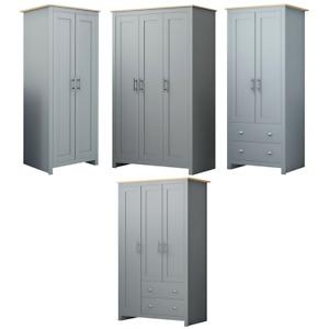 2 & 3 Door & Combination Traditional Wardrobe Bedroom Furniture Soft Matt Grey