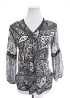 Lauren Ralph Lauren Crochet Peasant Tunic Top Paisley Black Womens Sz PM Pet M