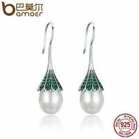 BAMOER Solid 925 Sterling silver Stud Earrings Whisper & Green CZ Women Jewelry