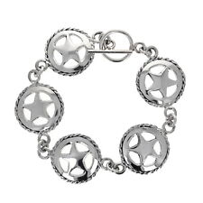 Sterling Silver Bracelet, Sheriff Star, Toggle Closure, 7.5 inches, .925, Charms