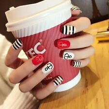 Cool Sailor Style 24pcs Red Black Navy Section Design Oval Full Short Fake Nails