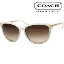Coach Sunglasses HC8084 518113 Milky White Gold Frames Brown Gradient Lens 57MM