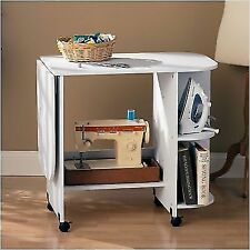 White sewing machine accessories ebay rolling sewing machine craft table drop leaf white folding desk storage shelves watchthetrailerfo