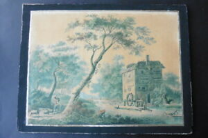 FRENCH SCHOOL CA. 1810 - LARGE SIZE ANIMATED LANDSCAPE - STUNNING WATERCOLOR