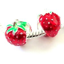 7 Enamel Strawberry Beads Hole 6mm For European Charm Bracelet