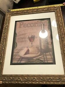 Pecorino Cheese And Wine Sign With Intricate Frame 11x14 Sign With Frame