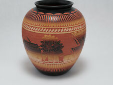 Diane Aragon Bowl (Laguna Pueblo) Vase Decorated with Pueblo and Kachina Dancer