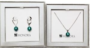 Honora 9 - 10mm Freshwater Pearl Necklace and Earrings Set ~ BOXED   teal
