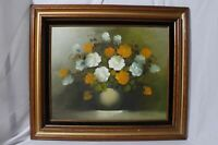 Robert Lox Artist Signed Oil On Canvas Flowers Floral Still Life Painting 27x23