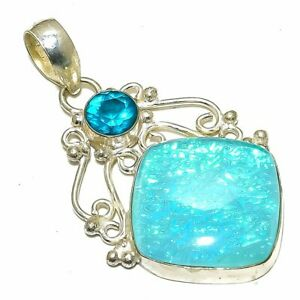 """Blue Triplet Fire Opal, Blue Topaz  Jewelry Pendant 2.1"""" DS-2195"""