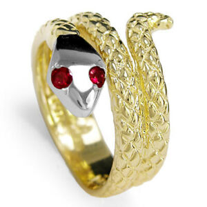 14k Solid Two-Tone Gold Snake Ruby Eye Serpent Ring #R1115
