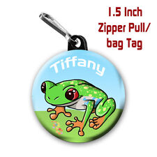 2 Personalized 1.5 Inch Frog Zipper Pull/Bag Tags with Name of choice