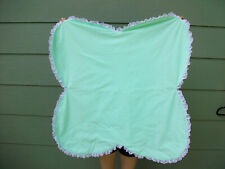 Baby Blanket Play Crawl Throw White Green Flower Clover Shape Lace Lap Quilt